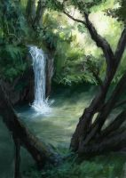 Jungle Waterfall by VidPen
