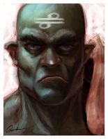 Wafi the Orc Monk by mythrilgolem1