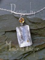 -Silver and citrine pendant- by magickmagpie