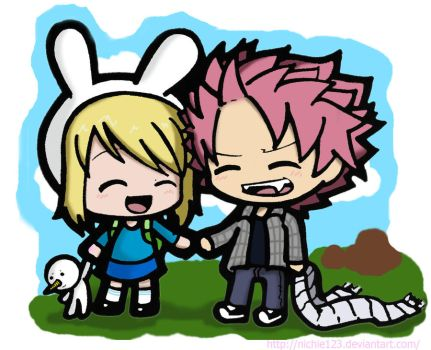 Natsu and Lucy as Fionna and Marshall Lee by nichie123