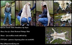 African serval totem headdress by lupagreenwolf
