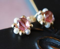 mystic Pink Topaz and Pearls Studs by CrysallisCreations