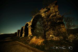 Evenings are early on aqueduct by Hermetic-Wings