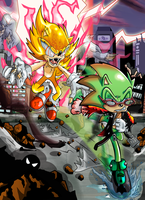 Archie Vs Fleetway: Scourge and Super Sonic by kintobor