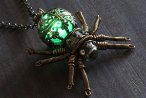 Steampunk Glowing Spider Pendant 3 by CatherinetteRings