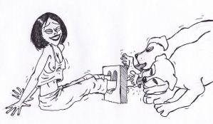 dog tickle girls feet in stocks by cachii2of3