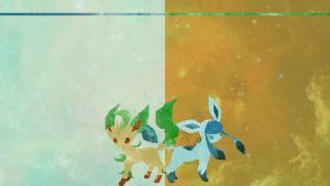 Leafeon and Glaceon Desktop by DrBoxHead