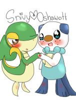 snivy and oshawott *colored* by SGT-Xavian
