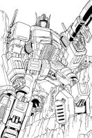 Optimus Prime lineart by markerguru