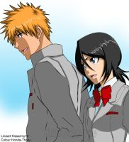 Bleach ichiruki school morning -colour-. by Honda-Thoru