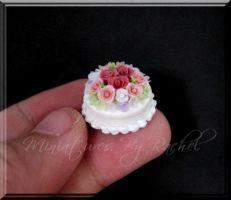 Tiny Rose Cake by ToothFairyMiniatures