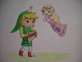 Spirit Tracks Link and Zelda by DarthJader11