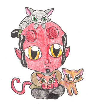 Hellboy and cats March 29 by Chibi-Fukurou