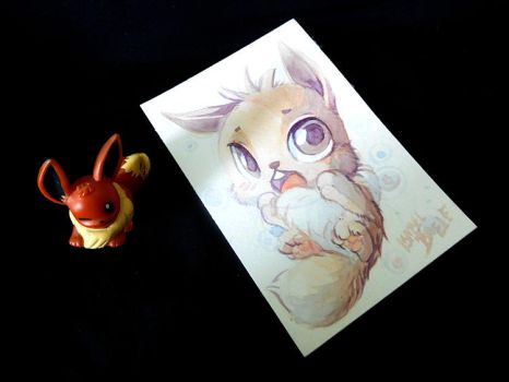 Original Watercolour painting of Eevee by tikopets