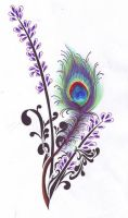 Peacock Feather and Lavender by NatRadzi