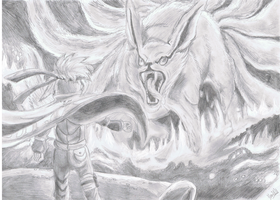 4th vs ninetails sketch by ConkerTSquirrel