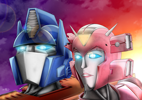 IDW Elita and Optimus by LadyElita-Arts