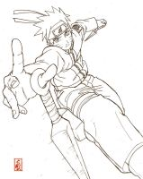 naruto in action: lineart by sharingandevil