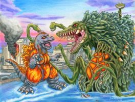 Burning Godzilla VS Biolante by Legrandzilla