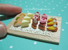 Dollhouse MIniature Teatime Pastries by ilovelittlethings