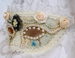 Ivory And Lace Masquerade Mask With Cameo by DaraGallery