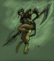 Cat-Monkey Warrior by aGiantSalamander