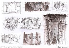 Sketch Dump - Post Apocalypse Locations by davi-escorsin