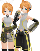 MMD Muubu Append Twins - Rin and Len by Rayne-Ray