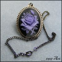 Purple Rose Cameo Necklace by 1337-Art