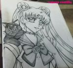 sailor moon usagi and luna by queencastilla
