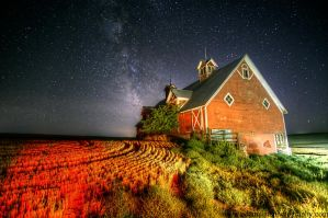 Eastern Oregon Barn and Milky Way 9-7-13 by adamsimsphotography