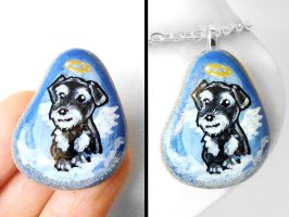 Miniature Schnauzer Stone Pendant Necklace by sobeyondthis