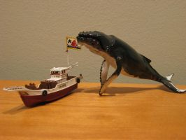 Japanese Fishing Boat and Whale for Rodan WIP by Legrandzilla