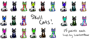 Skull Cats 15p Each OPEN by TheAdoptShop