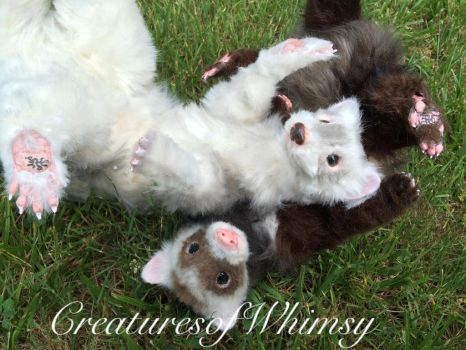 Playful ferret sisters! SOLD! by creaturesofwhimsy