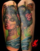 Zombie Geisha Tattoo by Jackie Rabbit by jackierabbit12