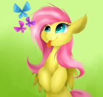 [MLP] Cute Fluttershy and butterflies. by TwistedMindBrony
