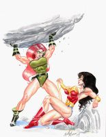 Wonder Woman vs Knockout by TheRaytrix