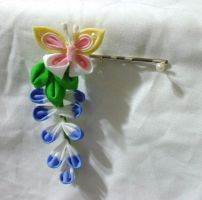Butterfly and wisteria bobby pin by EruwaedhielElleth