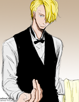 Sanji waiter coloring by AnnaHiwatari