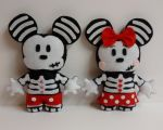 Minnie And Mickey mouse skull plushies by MandysStitchery