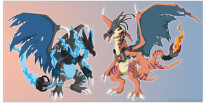 Digimonified: Mega charizard X and Y by Shoyu-Rai