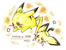 Pikachu and Pichu by hangdok