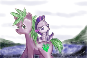 Spike - pony, Twilight - dragon by dzetaWMDunion