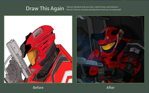 Draw this Again Contest- Red Spartan by Pablo25705