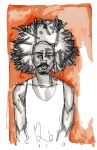 postcard: dude with a fro by zeruch