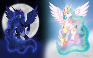 celestia and luna wallpaper by lizzytheviking