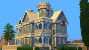 Sims 4 Blue Victorian house by RamboRocky