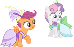 Gala Scootaloo and Sweetie Belle by SilverMapWolf
