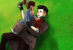Korra and Mako by xTheOceansDream